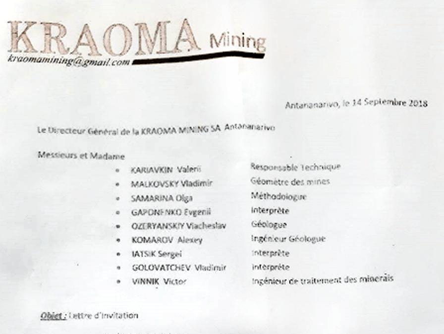 Список сотрудников российской Ferrum Mining, которых в сентябре 2018 года малагасийская госкомпания пригласила приехать на остров.