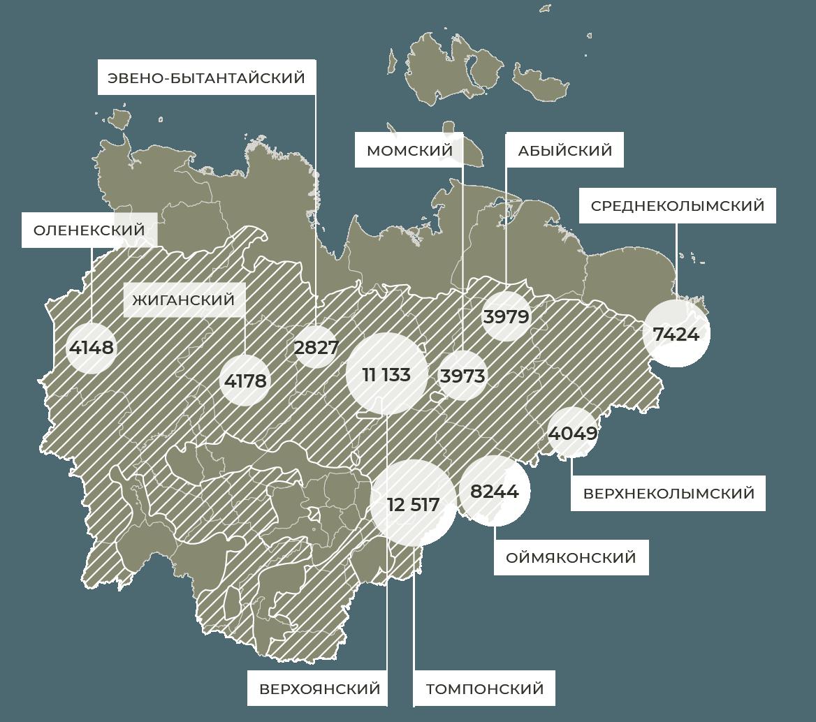 Натерритории Якутии «зона контроля» пожаров включает всебя как минимум 10 муниципальных районов общей численностью населения неменее 62 472 человек.