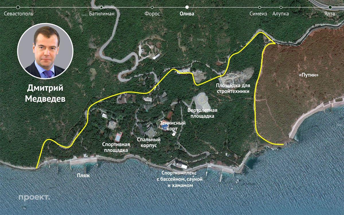 Примерный план территорий государственных дач № 9и10, поселок Олива на Южном берегу Крыма